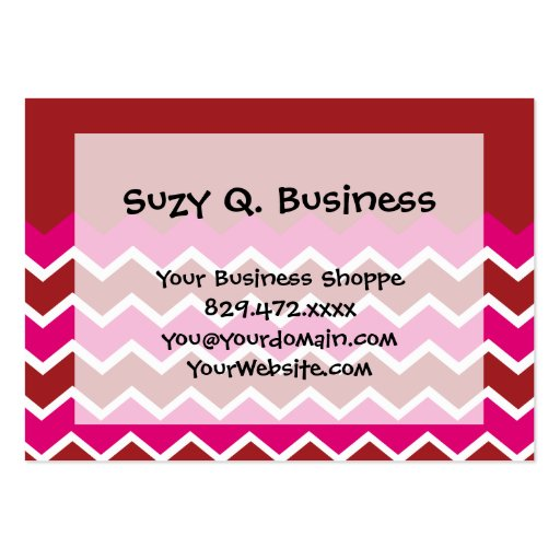 Bold Colorful Chevron Zigzag Pattern Red Hot Pink Business Cards