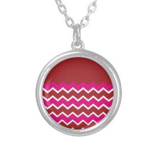 Bold Colorful Chevron Zigzag Pattern Red Hot Pink Pendants