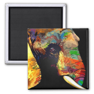 Bold Colorful Elephant Head Portrait Magnet