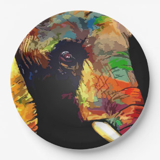Bold Colorful Elephant Head Portrait Paper Plate