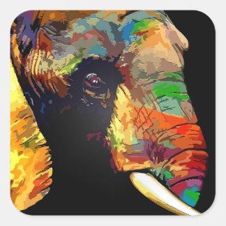 Bold Colorful Elephant Head Portrait Square Sticker