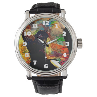 Bold Colorful Elephant Head Portrait Watch