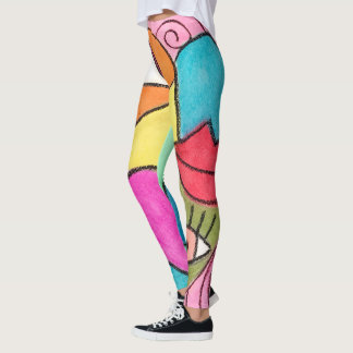 Bold Colorful Eyes Lips Color Block Art Cubism Leggings