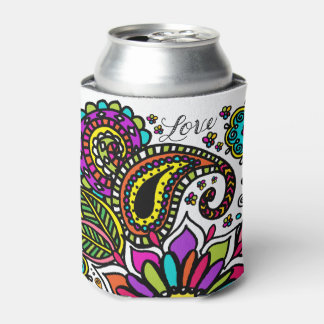 Bold Colorful Flower Love Custom Can Cooler