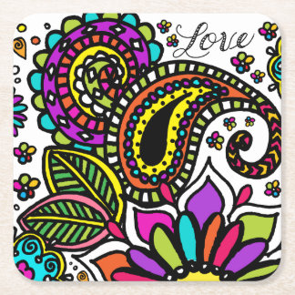 Bold Colorful Flower Love Paisley Kids Art Square Paper Coaster