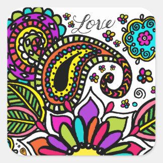 Bold Colorful Flower Love Paisley Kids Art Square Sticker