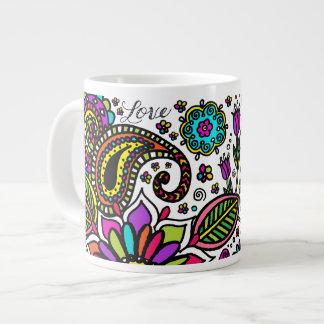 Bold Colorful Flower Love Paisley Kids Jumbo Mug