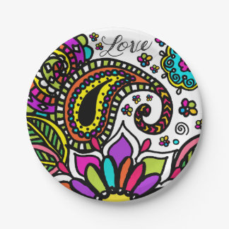 Bold Colorful Flower Love Paisley Kids Paper Plate