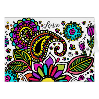 Bold Colorful Flower Love Paisley Sunshine Art Card