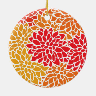 Bold Colorful Flower Modern Bright Ceramic Ornament