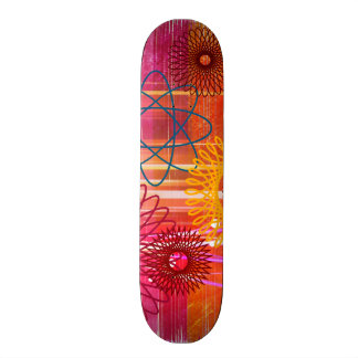 Bold Colorful Funky Spirographs and Stripes 19.7 Cm Skateboard Deck