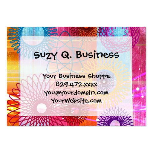 Bold Colorful Funky Spirographs and Stripes Business Cards