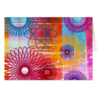 Bold Colorful Funky Spirographs and Stripes Card