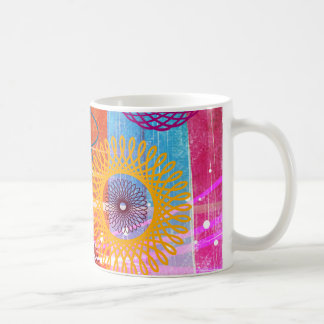 Bold Colorful Funky Spirographs and Stripes Coffee Mug