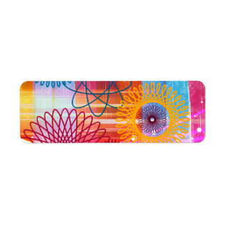 Bold Colorful Funky Spirographs and Stripes Return Address Label