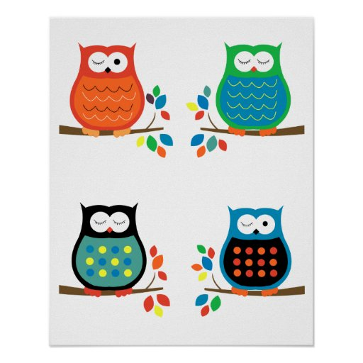 Bold Colorful Owls Nursery Prints (Four 8x10) Posters