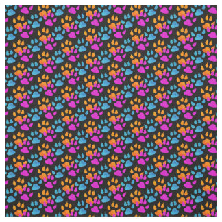 Bold Colorful Paws and Claws Pattern Fabric