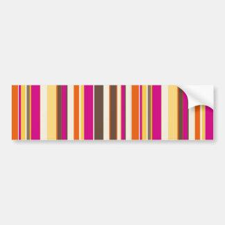 Bold Colorful Pink Orange Brown Stripes Pattern Bumper Sticker