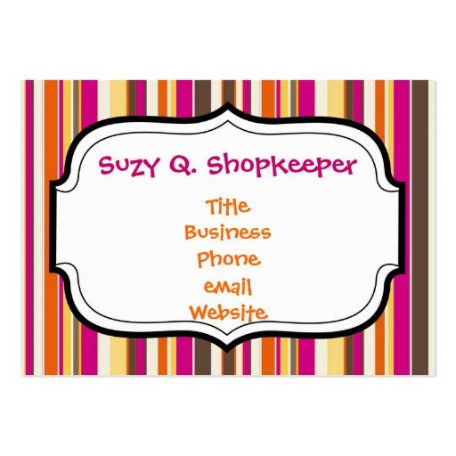 Bold Colorful Pink Orange Brown Stripes Pattern Business Cards