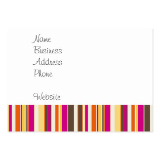 Bold Colorful Pink Orange Brown Stripes Pattern Pack Of Chubby Business Cards