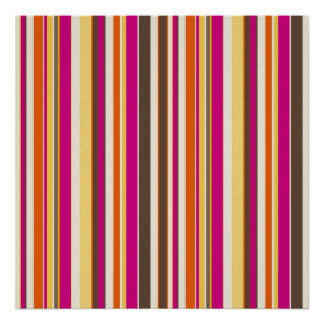 Bold Colorful Pink Orange Brown Stripes Pattern Poster