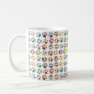 Bold Colorful Small Paws Cat Paw Print Mug