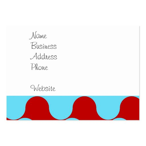 Bold Colorful Teal Turquoise Red Wavy Pattern Business Cards