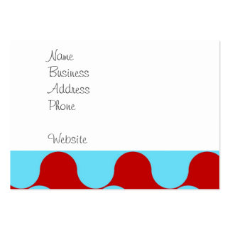 Bold Colorful Teal Turquoise Red Wavy Pattern Pack Of Chubby Business Cards