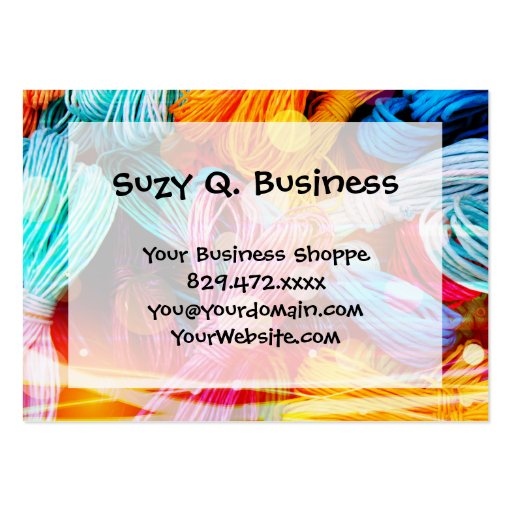 Bold Colorful Yarn Threads and Light Beams Business Card Template