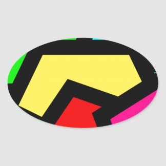 Bold colourful abstract oval sticker