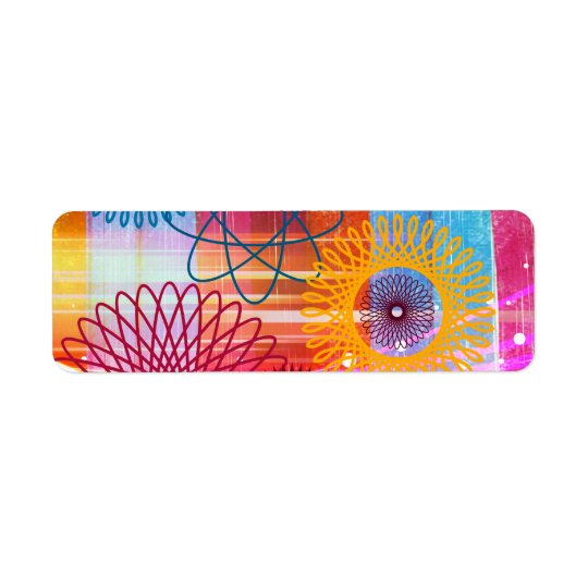 Bold Colourful Funky Spirographs and Stripes Return Address Label