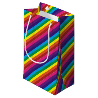 Bold Colourful Rainbow Stripes Pattern Small Gift Bag