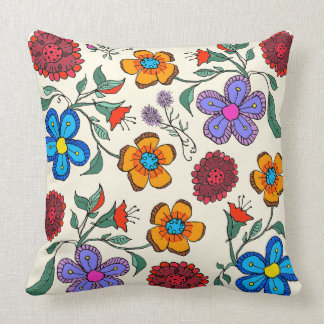 Bold Contemporary Garden Flowers Art Throw Cushions