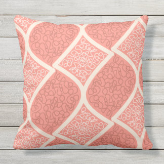 Bold Cream on Salmon pink Outdoor Cushion
