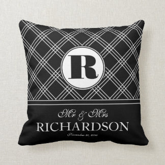 Bold Criss Cross Pattern Monogram Mr and Mrs Cushion