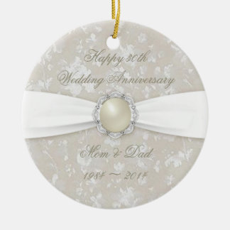 Bold Damask 30th Wedding Anniversary Ornament