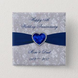 Bold Damask 45th Wedding Anniversary Button