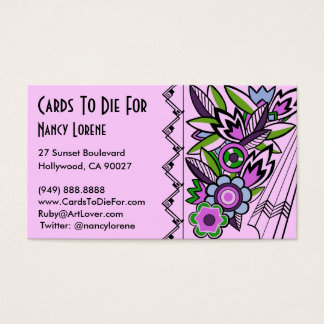 Bold Deco Florals in Lilac - Business Cards