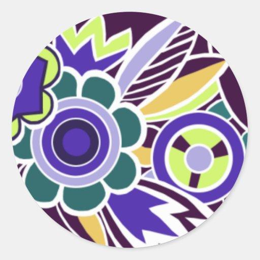 Bold Deco Florals in Purple - Stickers