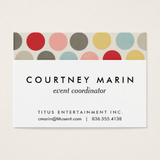 Bold Dot Colorful Pastel Circles Polka Dot Print Business Card
