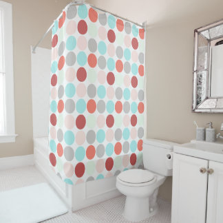 Bold Dots in Pale shades of aqua rose salmon gray Shower Curtain