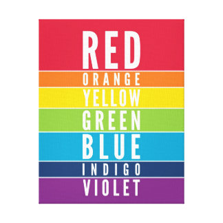 BOLD EDUCATIONAL CLASSROOM rainbow color art chart Stretched Canvas Prints