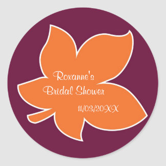 Bold Fall Leaves Bridal Shower Sticker