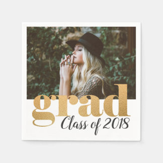 Bold Faux Gold Foil Typography Grad Photo Disposable Serviette
