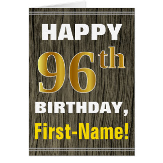 Bold, Faux Wood, Faux Gold 96th Birthday + Name Card
