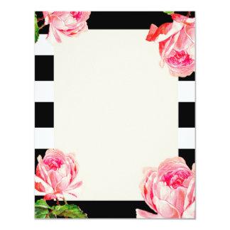 Bold Black White Floral Invitations & Announcements ...