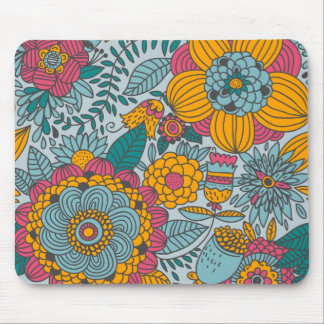 Bold Floral and Vines Mouse Pad
