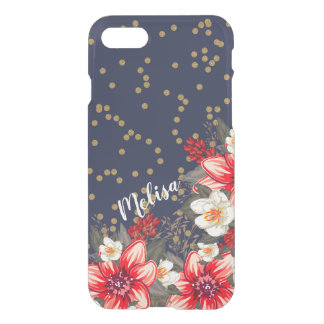 Bold Floral Gold Confetti on Navy Personalized iPhone 8/7 Case