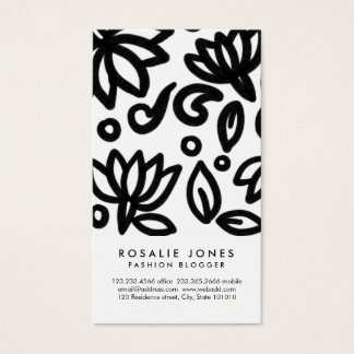 Bold Floral Lotus Drawing Elegant Whimsical Business Card