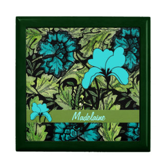 Bold Floral Print with a Retro Pattern Custom Large Square Gift Box